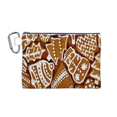 Biscuit Brown Christmas Cookie Canvas Cosmetic Bag (M)