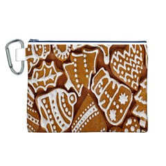 Biscuit Brown Christmas Cookie Canvas Cosmetic Bag (l)