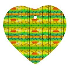 Birds Beach Sun Abstract Pattern Ornament (Heart)