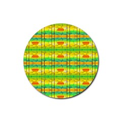 Birds Beach Sun Abstract Pattern Rubber Round Coaster (4 pack)
