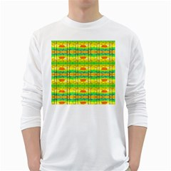 Birds Beach Sun Abstract Pattern White Long Sleeve T-Shirts
