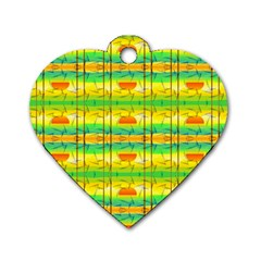 Birds Beach Sun Abstract Pattern Dog Tag Heart (One Side)