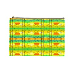 Birds Beach Sun Abstract Pattern Cosmetic Bag (Large)