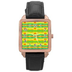 Birds Beach Sun Abstract Pattern Rose Gold Leather Watch