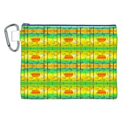 Birds Beach Sun Abstract Pattern Canvas Cosmetic Bag (xxl)