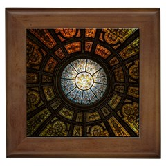 Black And Borwn Stained Glass Dome Roof Framed Tiles
