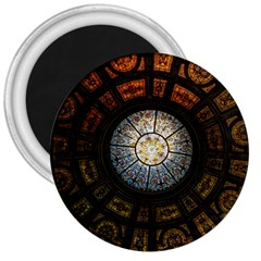 Black And Borwn Stained Glass Dome Roof 3  Magnets