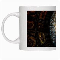 Black And Borwn Stained Glass Dome Roof White Mugs