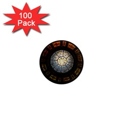 Black And Borwn Stained Glass Dome Roof 1  Mini Magnets (100 pack)