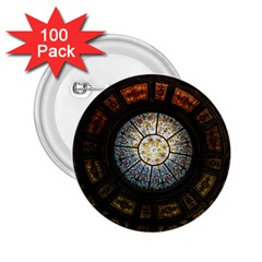 Black And Borwn Stained Glass Dome Roof 2.25  Buttons (100 pack)