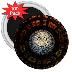Black And Borwn Stained Glass Dome Roof 3  Magnets (100 pack)