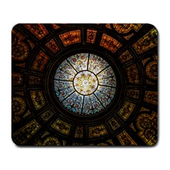 Black And Borwn Stained Glass Dome Roof Large Mousepads