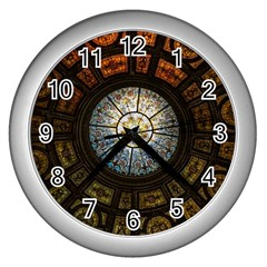 Black And Borwn Stained Glass Dome Roof Wall Clocks (Silver)