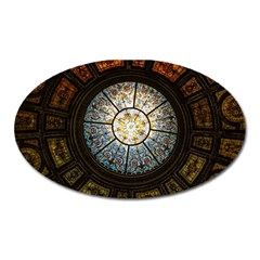 Black And Borwn Stained Glass Dome Roof Oval Magnet