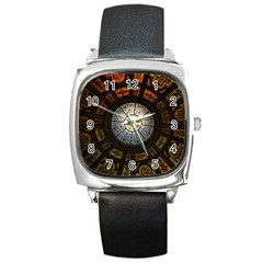 Black And Borwn Stained Glass Dome Roof Square Metal Watch