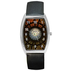 Black And Borwn Stained Glass Dome Roof Barrel Style Metal Watch