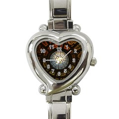 Black And Borwn Stained Glass Dome Roof Heart Italian Charm Watch