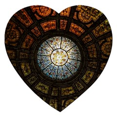 Black And Borwn Stained Glass Dome Roof Jigsaw Puzzle (Heart)