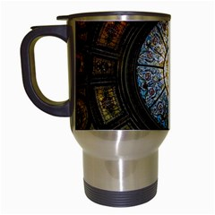Black And Borwn Stained Glass Dome Roof Travel Mugs (White)