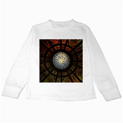 Black And Borwn Stained Glass Dome Roof Kids Long Sleeve T-Shirts