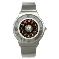 Black And Borwn Stained Glass Dome Roof Stainless Steel Watch