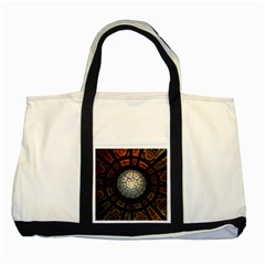 Black And Borwn Stained Glass Dome Roof Two Tone Tote Bag