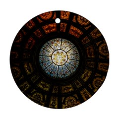 Black And Borwn Stained Glass Dome Roof Round Ornament (Two Sides)