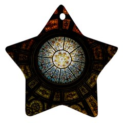 Black And Borwn Stained Glass Dome Roof Star Ornament (two Sides)