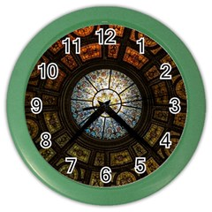 Black And Borwn Stained Glass Dome Roof Color Wall Clocks