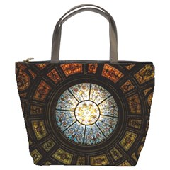 Black And Borwn Stained Glass Dome Roof Bucket Bags