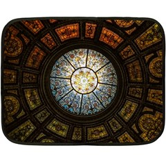 Black And Borwn Stained Glass Dome Roof Fleece Blanket (Mini)