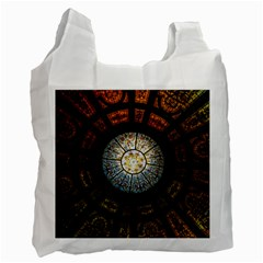 Black And Borwn Stained Glass Dome Roof Recycle Bag (two Side)