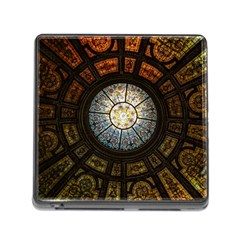 Black And Borwn Stained Glass Dome Roof Memory Card Reader (square)