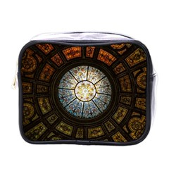 Black And Borwn Stained Glass Dome Roof Mini Toiletries Bags