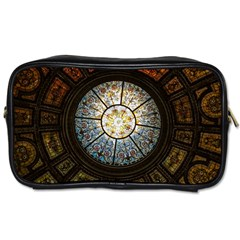 Black And Borwn Stained Glass Dome Roof Toiletries Bags