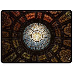 Black And Borwn Stained Glass Dome Roof Fleece Blanket (Large)