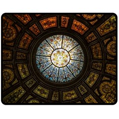 Black And Borwn Stained Glass Dome Roof Fleece Blanket (Medium)