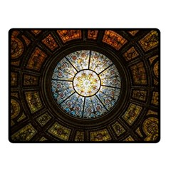 Black And Borwn Stained Glass Dome Roof Fleece Blanket (Small)