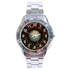 Black And Borwn Stained Glass Dome Roof Stainless Steel Analogue Watch