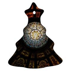 Black And Borwn Stained Glass Dome Roof Christmas Tree Ornament (Two Sides)