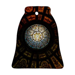 Black And Borwn Stained Glass Dome Roof Bell Ornament (Two Sides)
