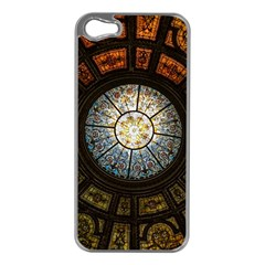 Black And Borwn Stained Glass Dome Roof Apple iPhone 5 Case (Silver)