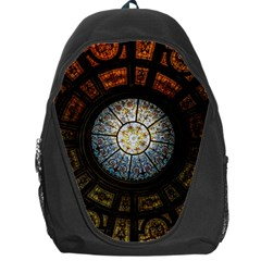 Black And Borwn Stained Glass Dome Roof Backpack Bag