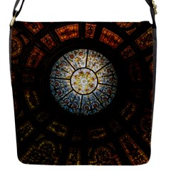 Black And Borwn Stained Glass Dome Roof Flap Messenger Bag (s)