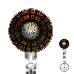 Black And Borwn Stained Glass Dome Roof Stainless Steel Nurses Watch