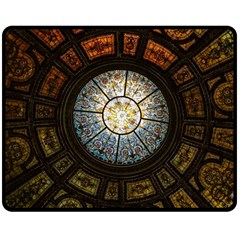 Black And Borwn Stained Glass Dome Roof Double Sided Fleece Blanket (medium)