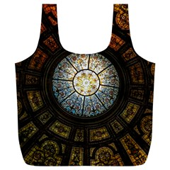 Black And Borwn Stained Glass Dome Roof Full Print Recycle Bags (L)