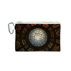 Black And Borwn Stained Glass Dome Roof Canvas Cosmetic Bag (s)