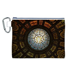 Black And Borwn Stained Glass Dome Roof Canvas Cosmetic Bag (L)