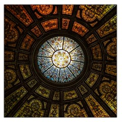 Black And Borwn Stained Glass Dome Roof Large Satin Scarf (square)